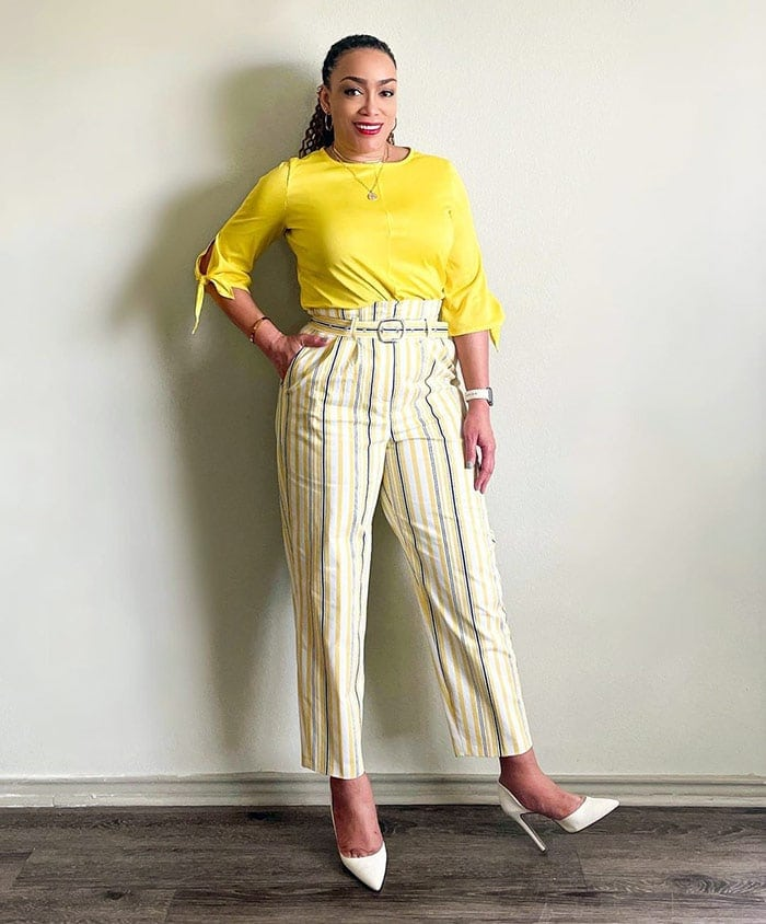 How to dress when you are short - Erica in striped pants | 40plusstyle.com