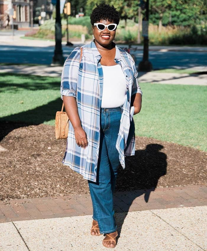a shirt dress worn as a topper over jeans | 40plusstyle.com