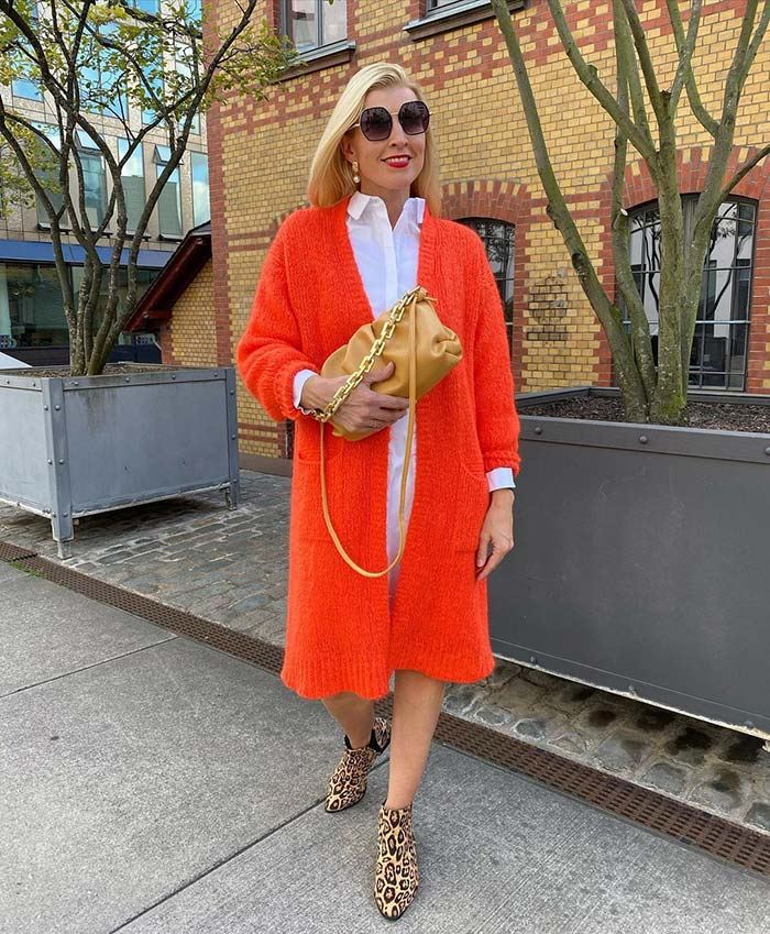 How to dress for Valentine's Day - Nadine wears a red cardigan | 40plusstyle.com