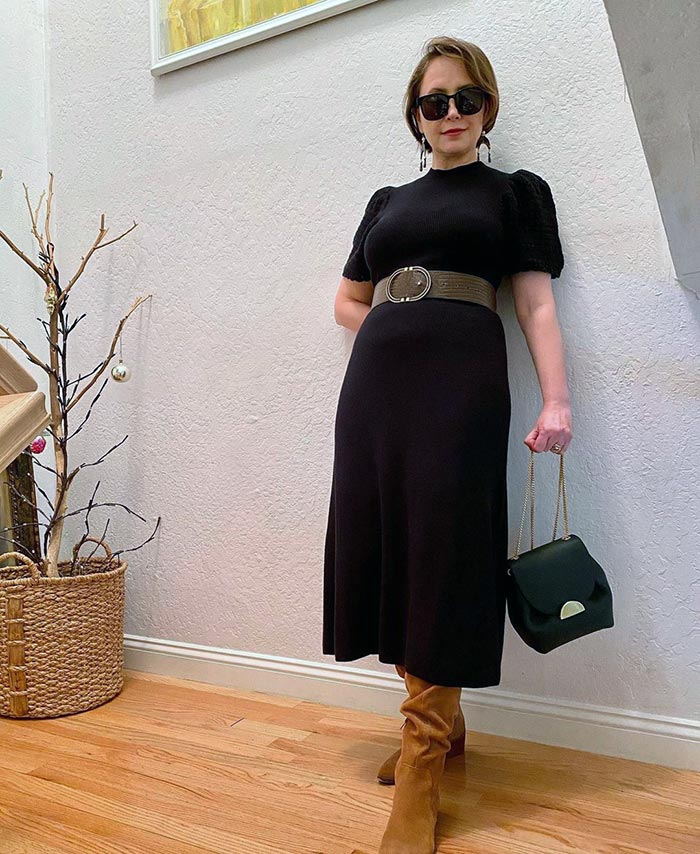 How to find your style - Oxana in a sweater dress and boots | 40plusstyle.com