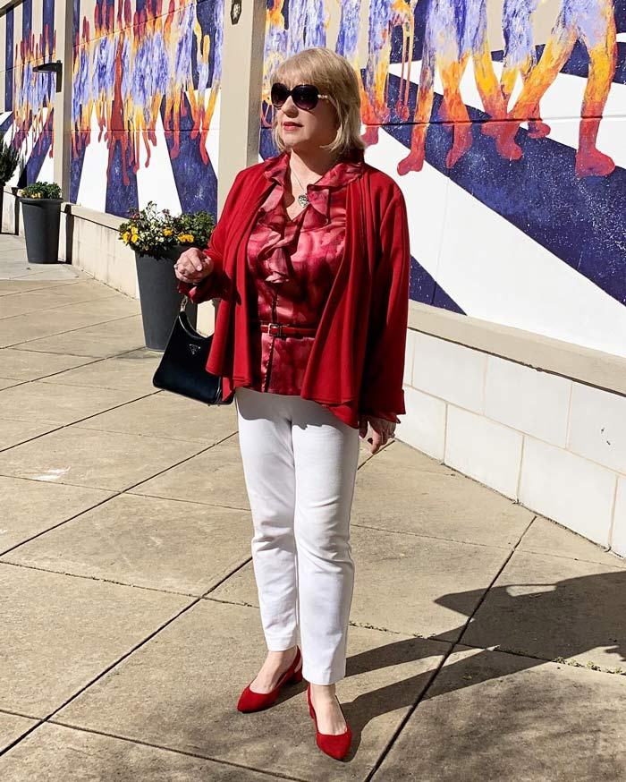 how to dress for valentines day -wearing red | 40plusstyle.com