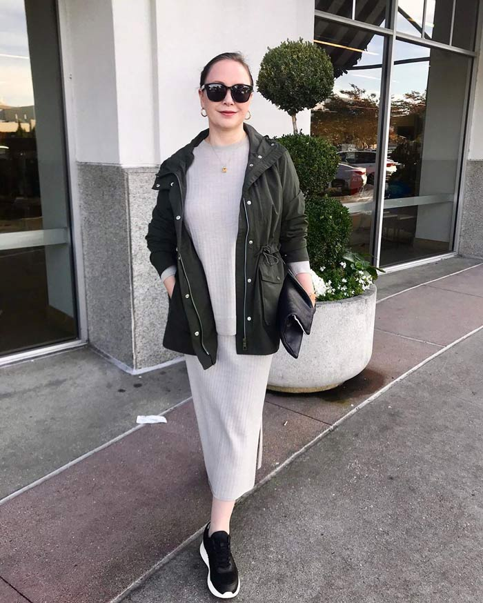 gray and green outfit | 40plusstyle.com