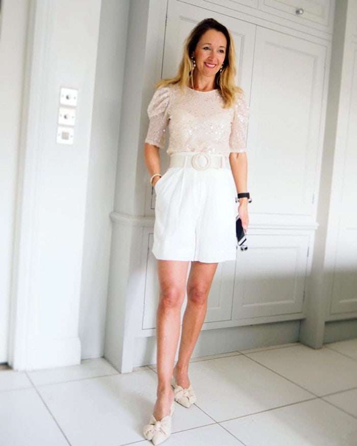 shorts dressed up for a summer event | 40plusstyle.com