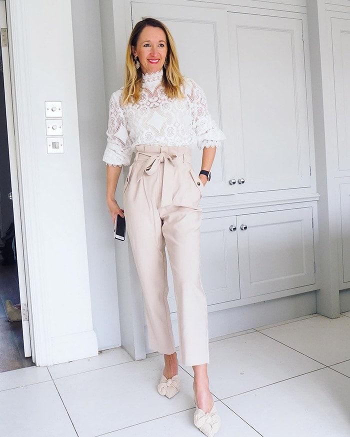 Karen wearing a party outfit in pastel shades | 40plusstyle.com