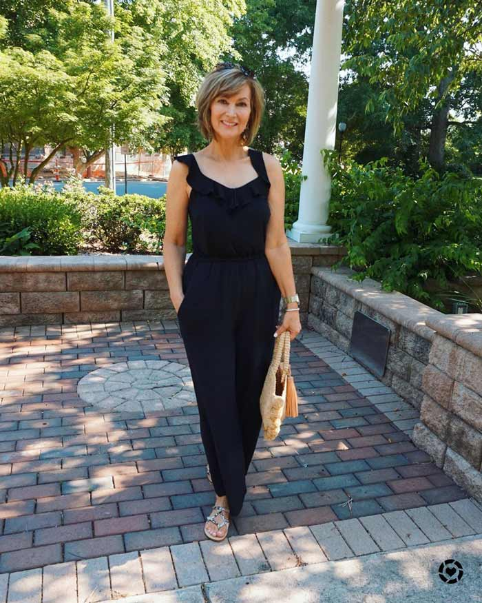 black jumpsuit with cinched waitt | 40plusstyle.com