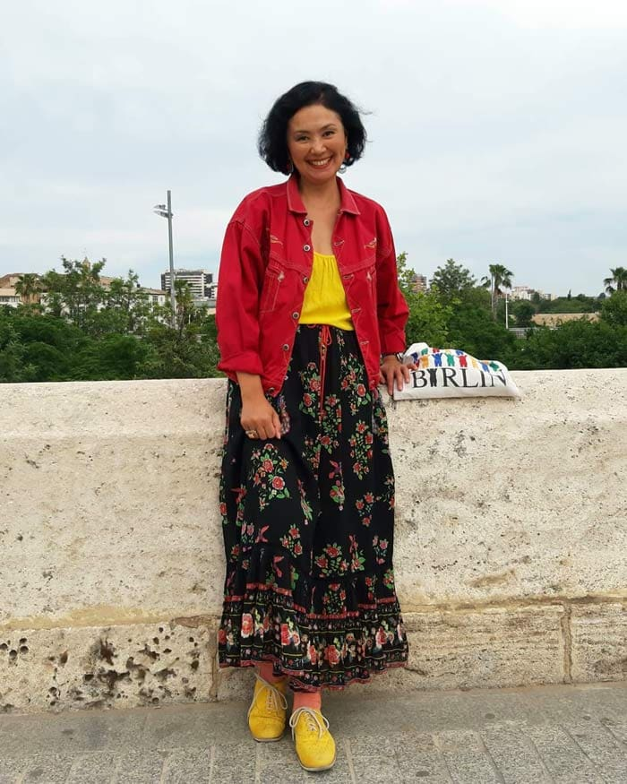 red denim jacket and maxi skirt   40plusstyle.com