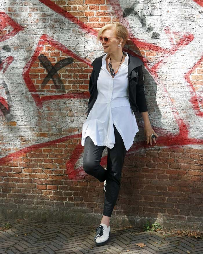 Leather jacket and pants white top | 40plusstyle.com
