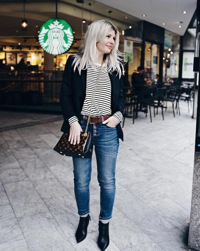 a classic nautical-inspired outfit | 40plusstyle.com