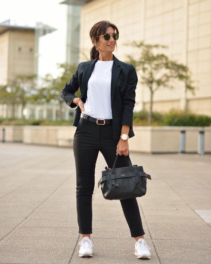 a monochrome outfit featuring a black blazer | 40plusstyle.com