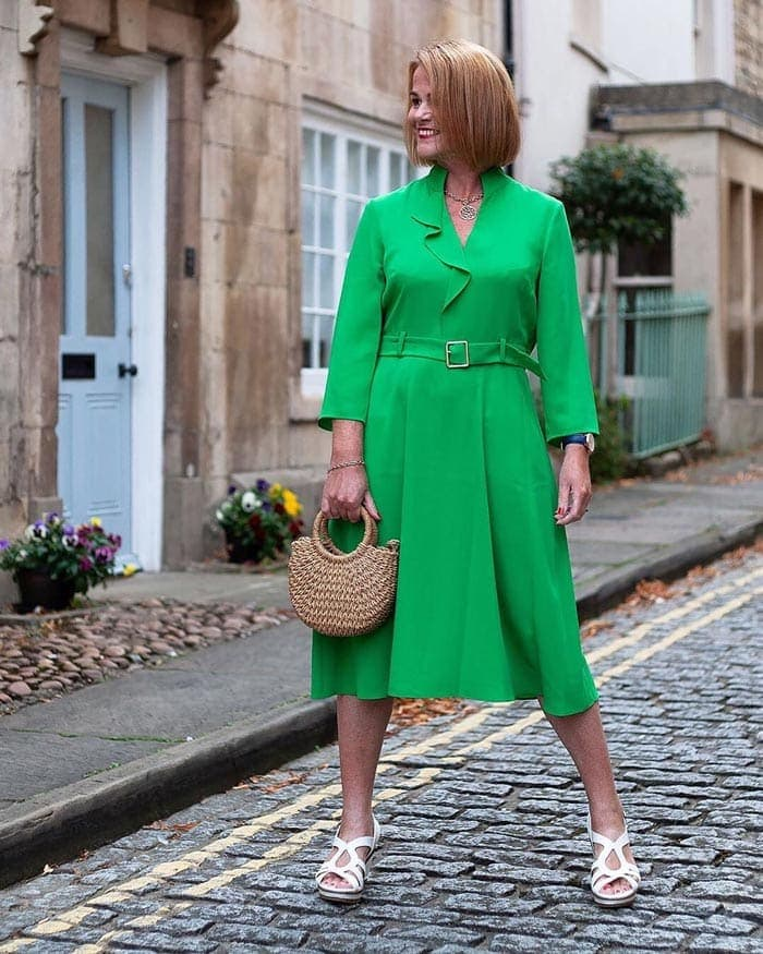 green dress worn with white | 40plusstyle.com