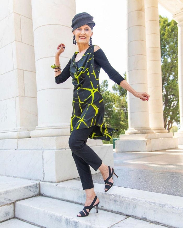 The Style Crone wearing a short dress with pants | 40plusstyle.com