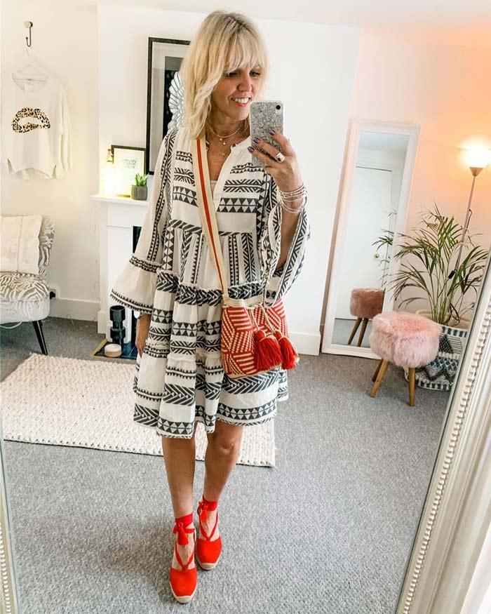boho look inspiration: boho dress and espadrille sandals | 40plusstyle.com
