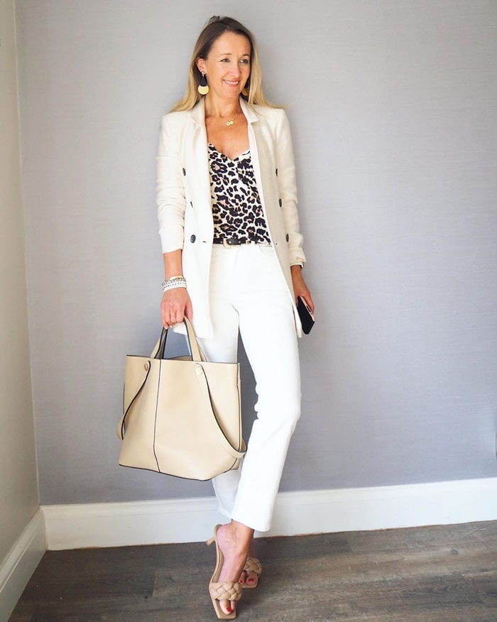 Karen wears a profession neutral outfit | 40plusstyle.com