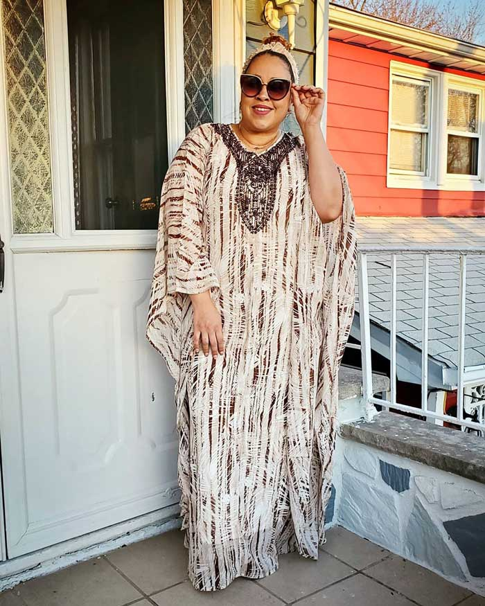 Sandra wearing a long beach cover up | 40plusstyle.com