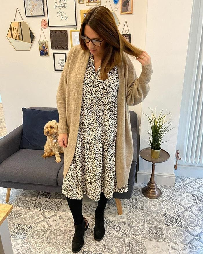 Melissa wearing a warm winter dress outfit   40plusstyle.com