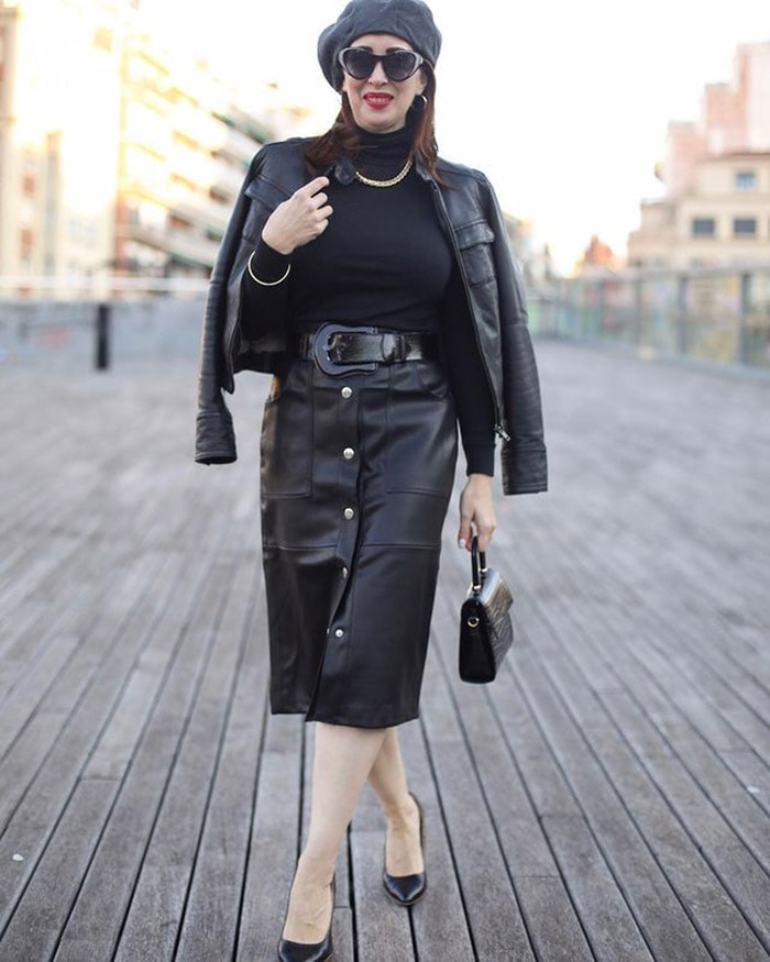 Sweater for women worn with a leather skirt | 40plusstyle.com