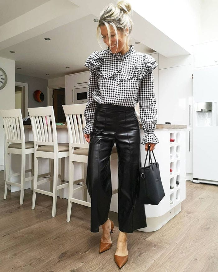 Abi wears gingham and leather | 40plusstyle.com