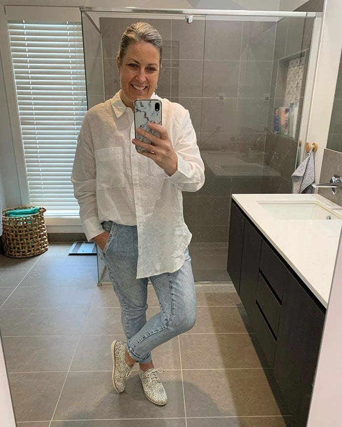 Beth in a pair of Rollie Derby shoes | 40plusstyle.com