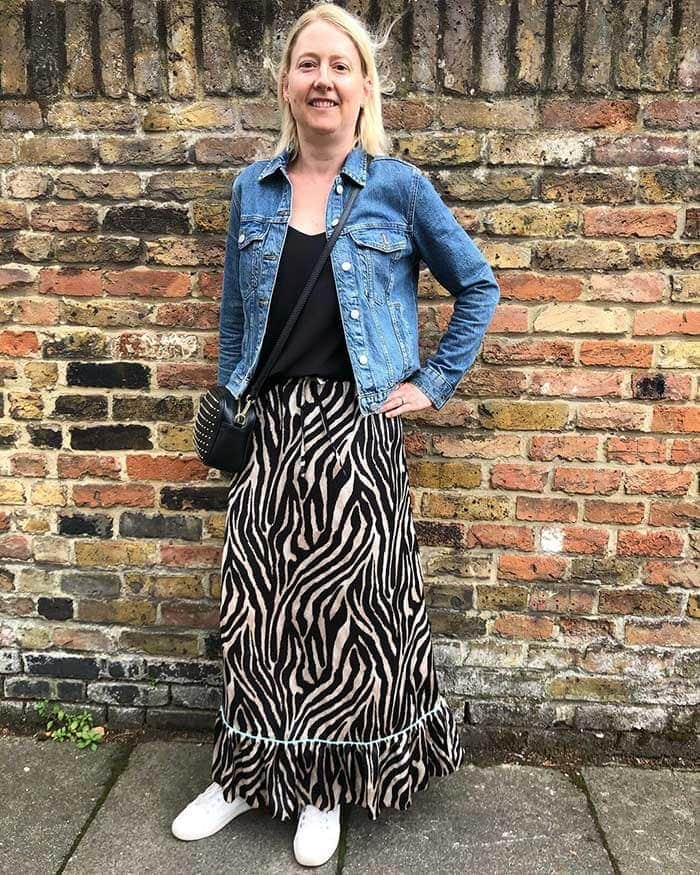 Anne in a denim jacket and maxi skirt | 40plusstyle.com