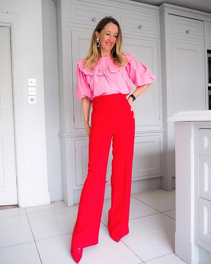 Best clothes for tall women - Karen in pink and red | 40plusstyle.com
