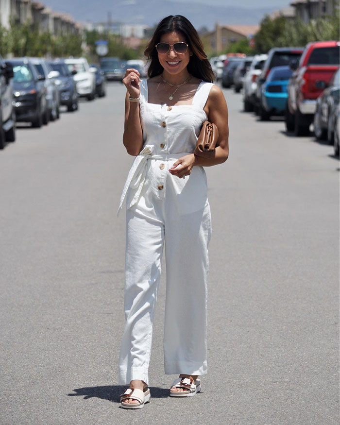 Summer jumpsuits for women - Adaline in a white jumpsuit   40plusstyle.com