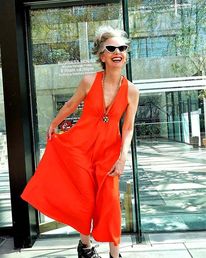 Summer jumpsuits for women - Mel in a red jumpsuit   40plusstyle.com
