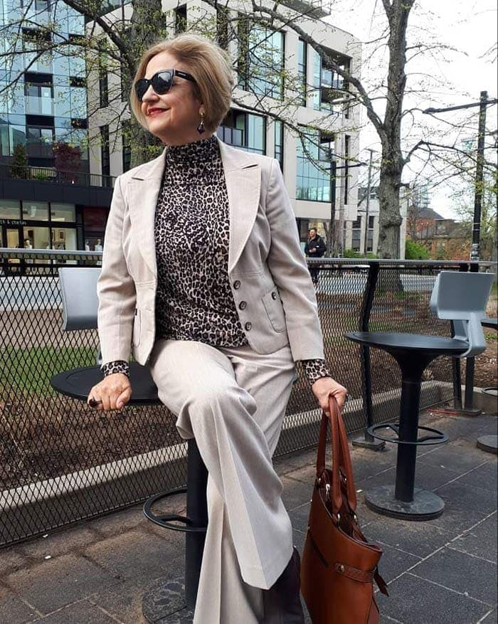 Terrie wearing leopard print top and blazer | 40plusstyle.com