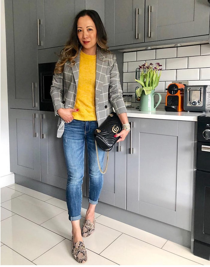 Yellow top goes well with printed blazers | 40plusstyle.com