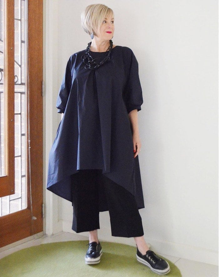 Combining short dresses or wider tops with wide leg pants | 40plusstyle.com