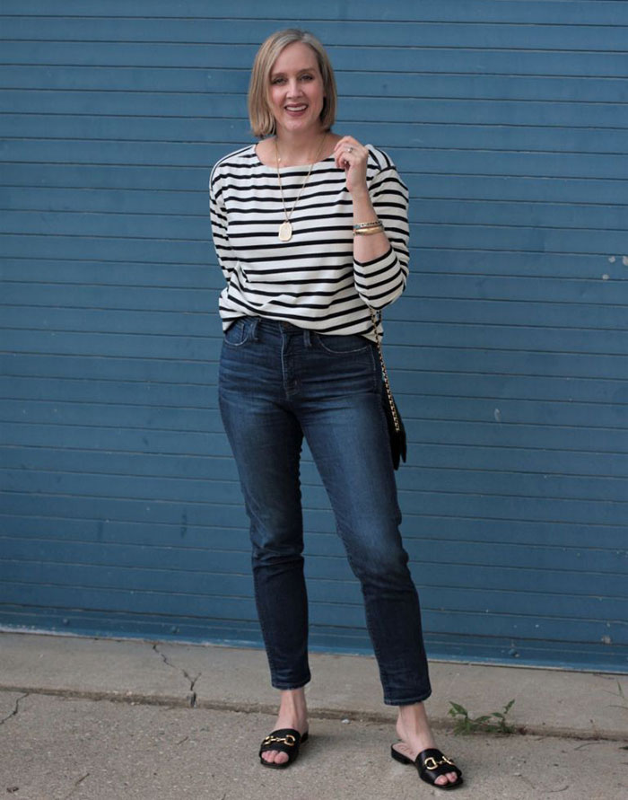 Ashley in stripes and jeans | 40plusstyle.com