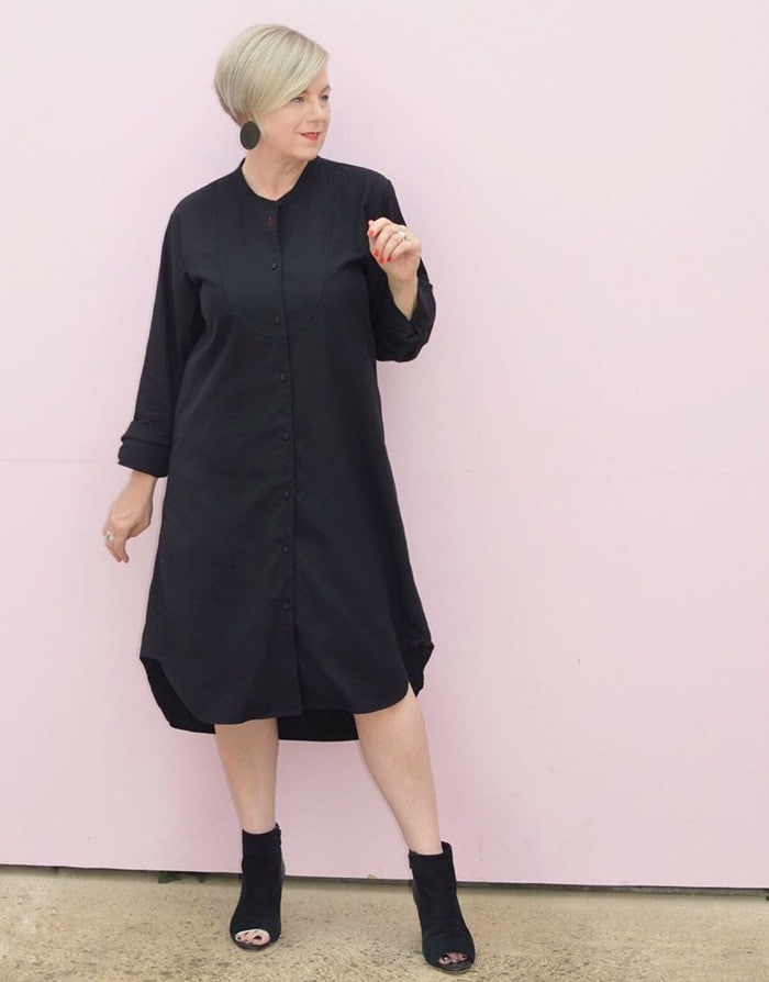 a shirt dress can be a good choice for hiding a belly bulge | 40plusstyle.com