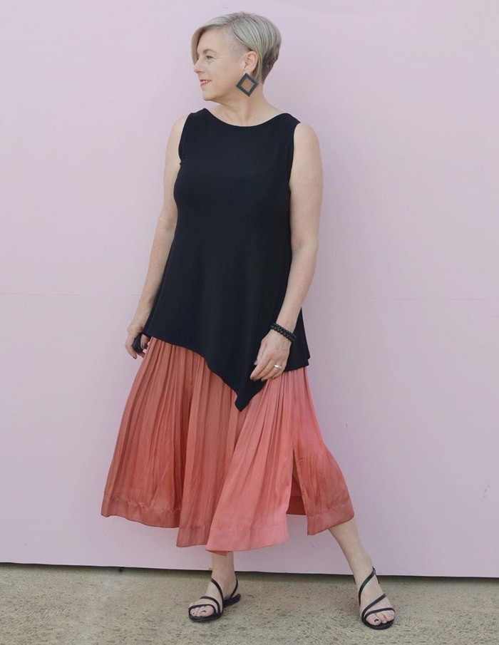 Deborah wears many elements of architectural fashion in her outfit | 40plusstyle.com