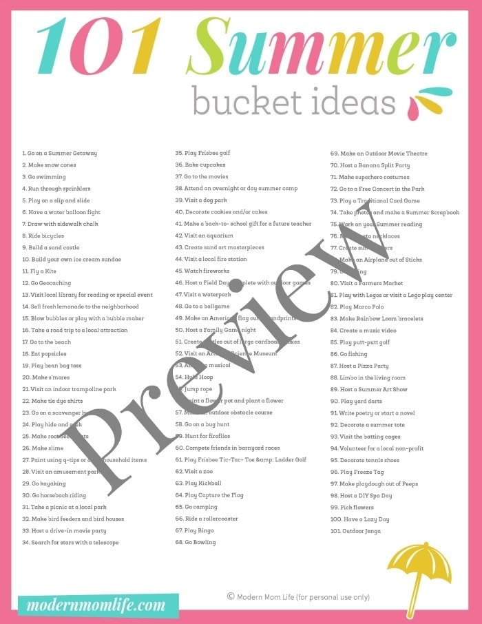 Ultimate Summer Bucket List Preview
