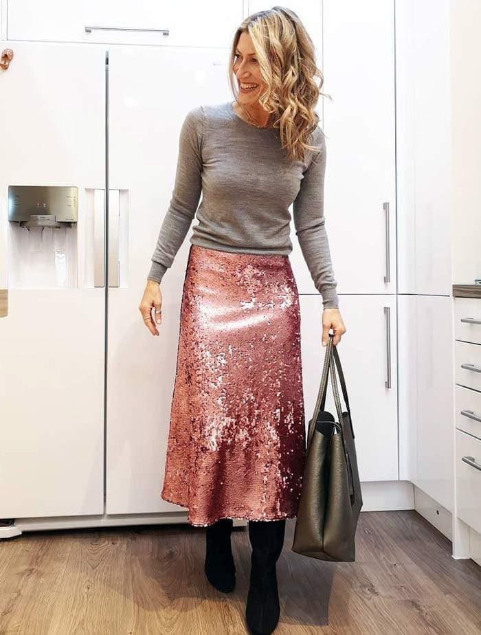 teaming a gray sweater with a sequin skirt for the glamorous style personality | 40plusstyle.com