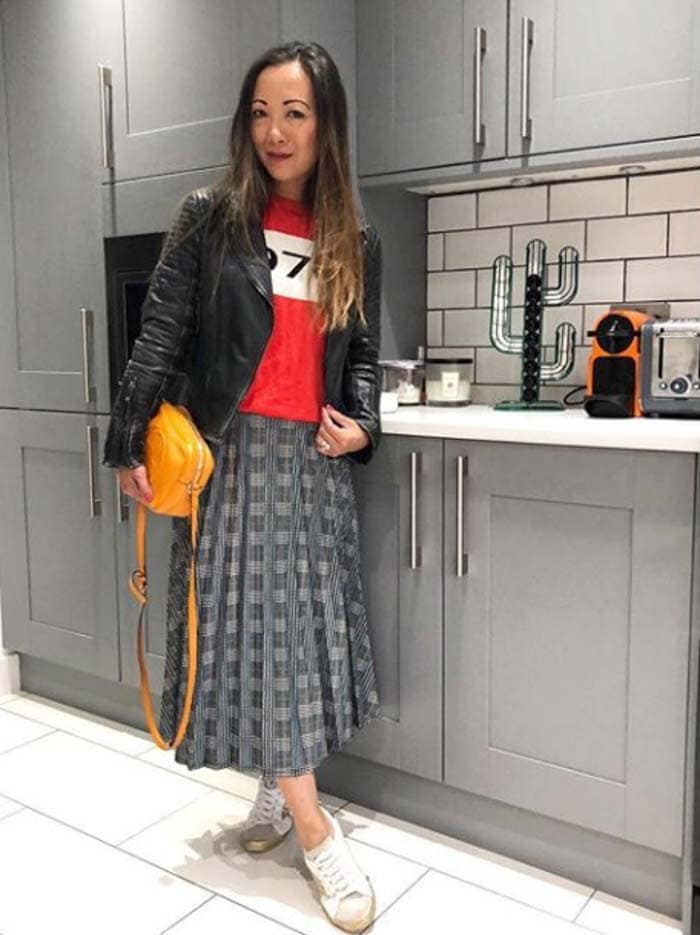 Plaid skirt with a leather jacket looks with jackets and blazers | 40plusstyle.com