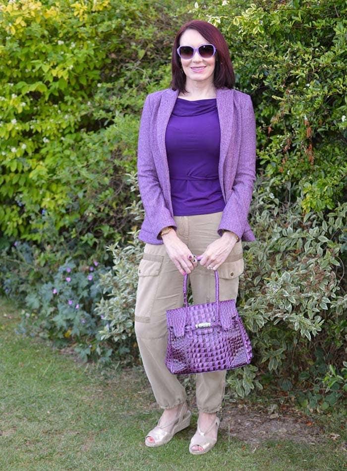 Emma wears purple and neutrals | 40plusstyle.com
