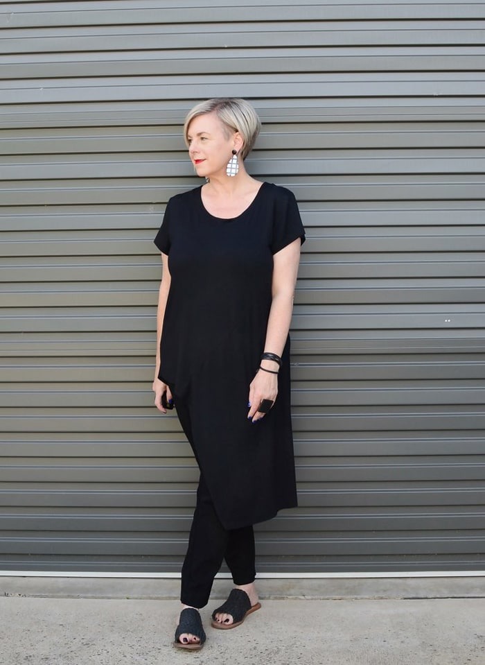 Deborah wearing all black and white statement earrings | 40plusstyle.com