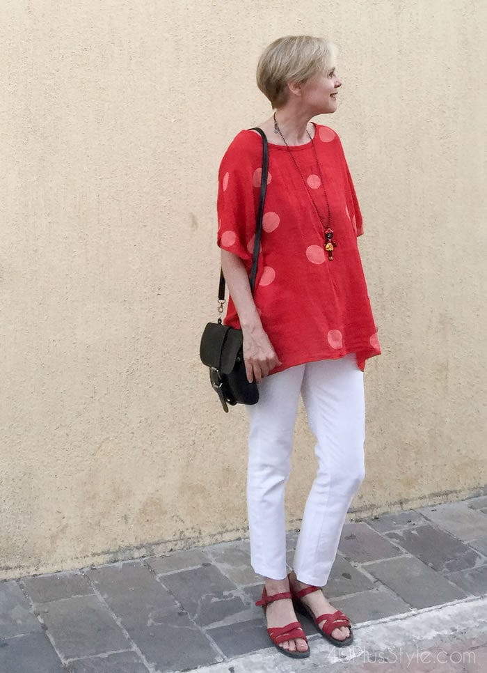 How to wear polkadots | red polkadot tunic | 40plusstyle.com