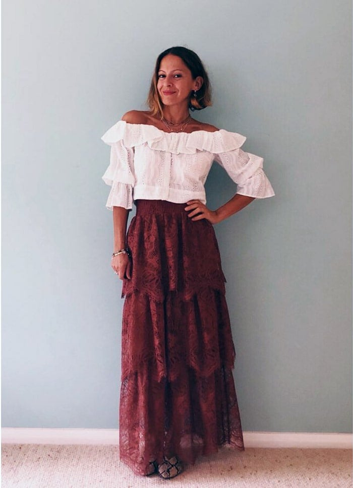 boho look inspiration:off shoulder top and tiered skirt | 40plusstyle.com