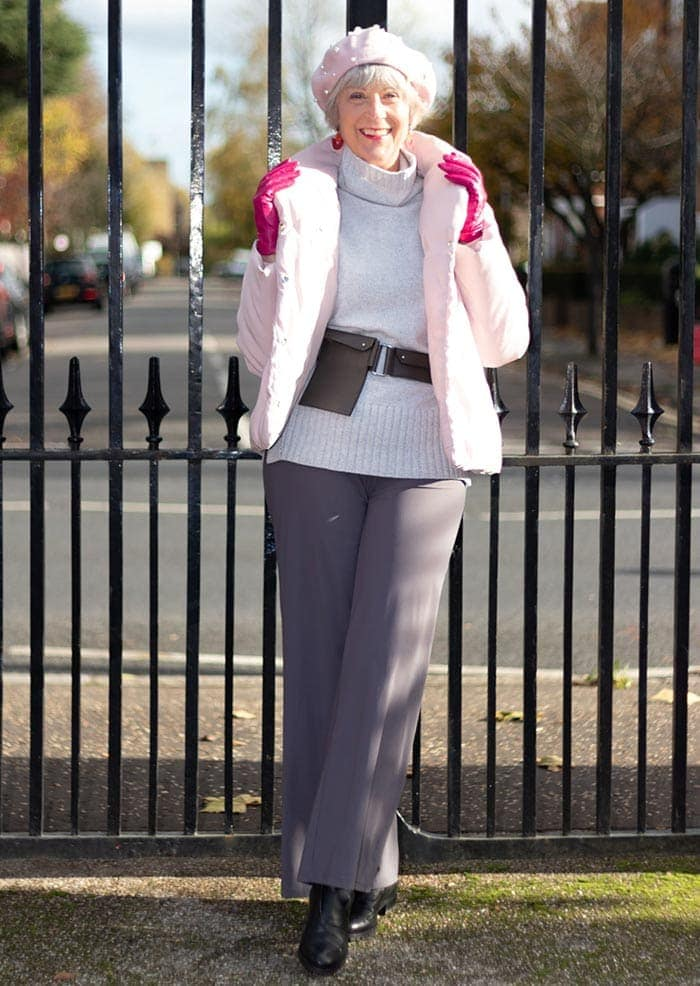 Winter outfits for women - Josephine in bright pink gloves | 40plusstyle.com