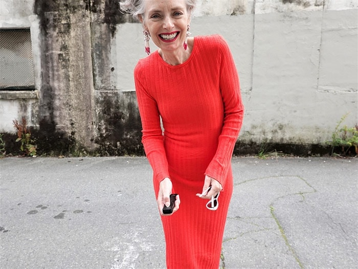 Melanie in a red ribbed dress   40plusstyle.com