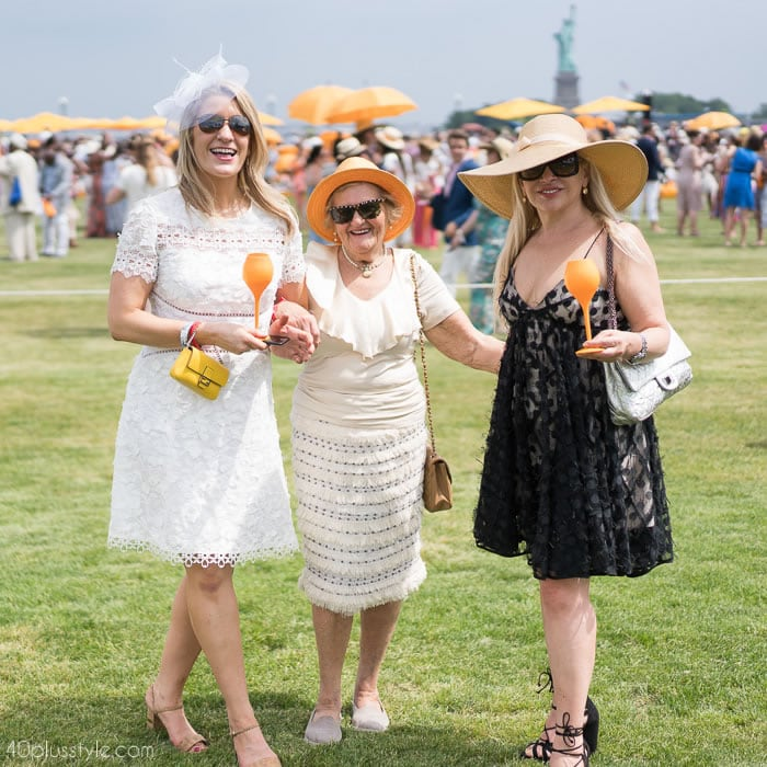 Beautifully textured neutral dresses at the Veuve Clicquot polo classic 2018 | 40plusstyle.com