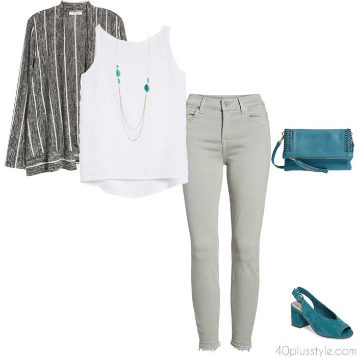 6 stylish outfits - teal | 40plusstyle.com