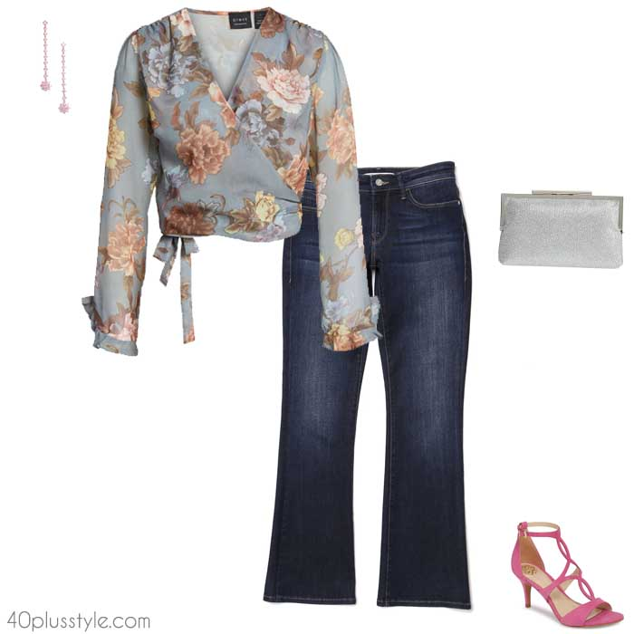 The 5 best going out tops to wear with jeans - floral wrap | 40plusstyle.com