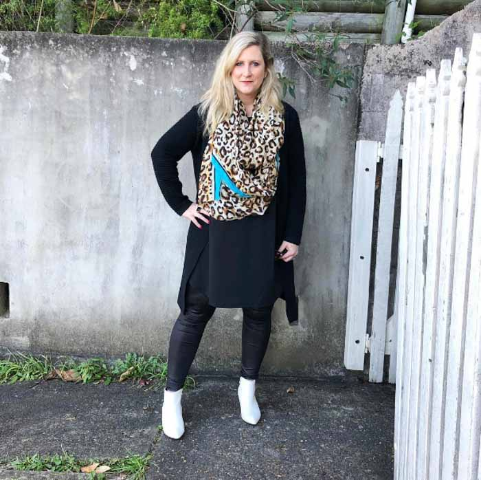 Cheetah print scarf - 20 different ways to wear black | 40plusstyle.com