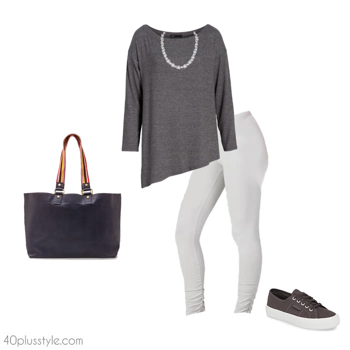 Asymmetrical tops and leggings | 40plusstyle.com