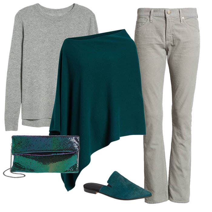 Grey sweater over green poncho with grey corduroy pants | 40plusstyle.com