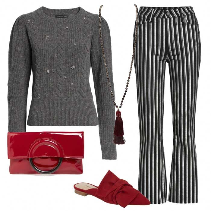Grey sweatshirt with grey striped pants and Red clutch bag | 40plusstyle.com