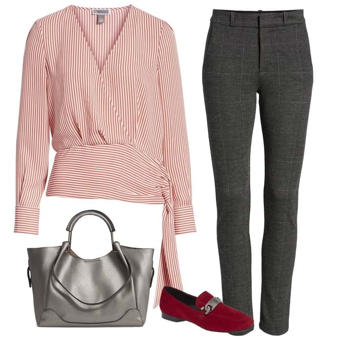 Red neckside blouse and grey pants | 40plusstyle.com