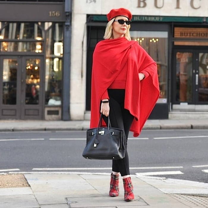 Looking good in a cashmere red poncho | 40plusstyle.com | fashion over 40